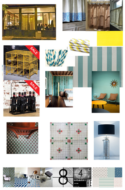 Interior design Mood boards for a colourful, industrial restaurant in shades of turquoise, yellow and silver