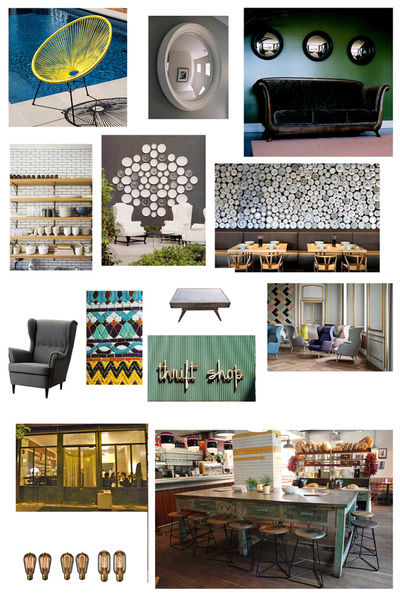 Design board showing ideas for seating and storage in contemporary London restaurant 'Melange'