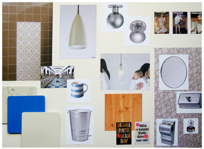 Moodboards for the makeover of this industrial space with a Dairy and milk theme