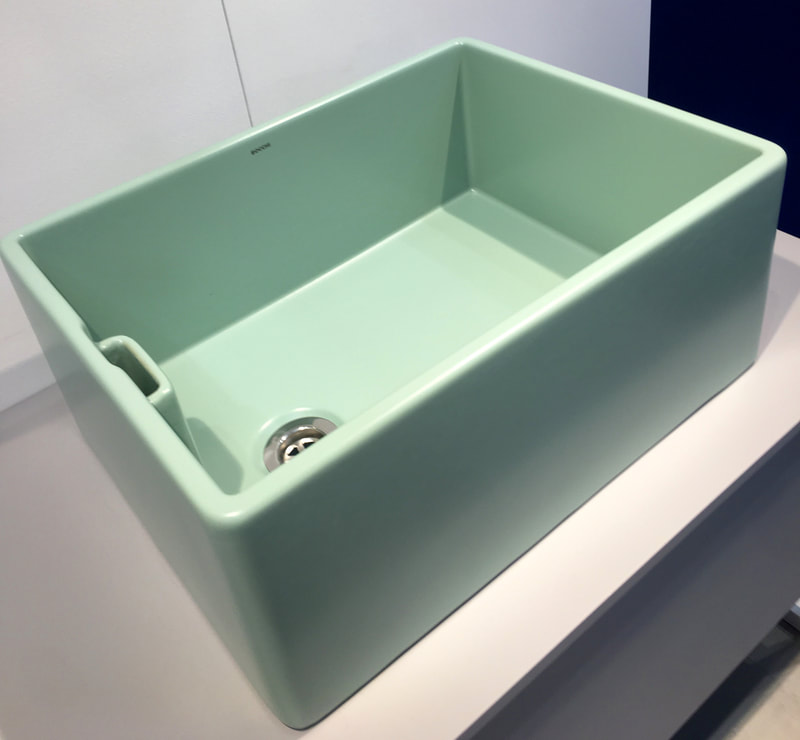 Mint green, belfast butler sink by Bocchi