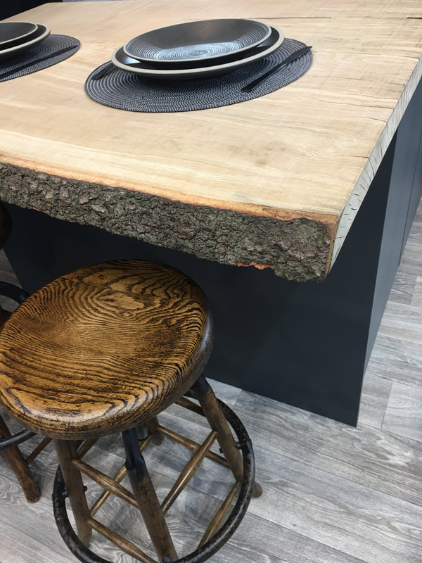 Live edge, oak, kitchen worktop with industrial stools