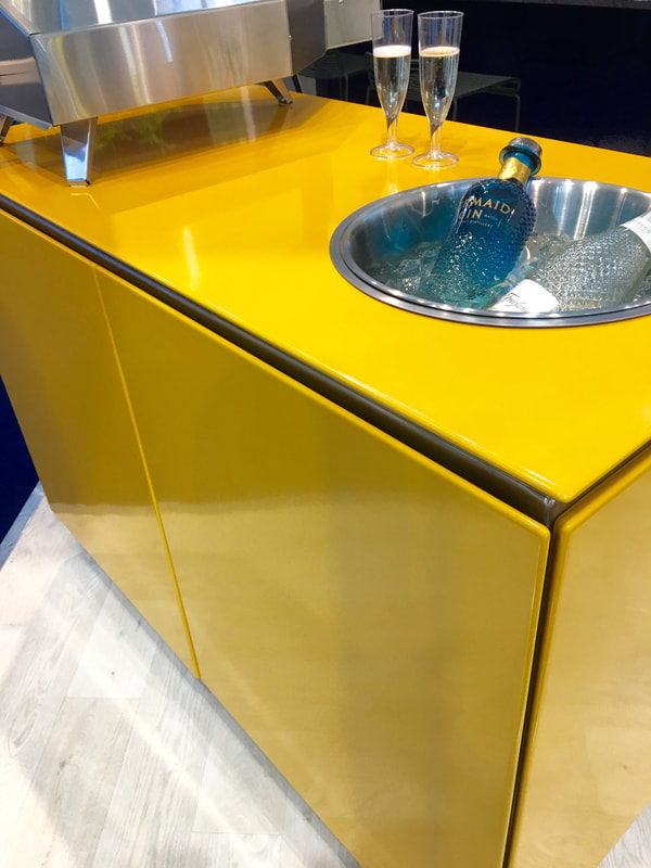 Yellow, indoor outdoor, metal kitchen units by Vlaze